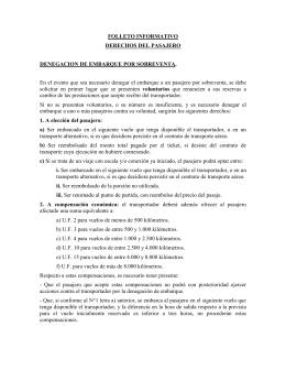 FOLLETO INFORMATIVO DERECHOS DEL PASAJERO