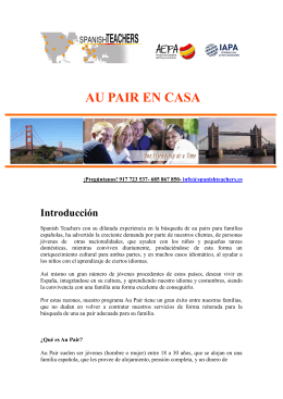 Folleto informativo Au Pair en casa
