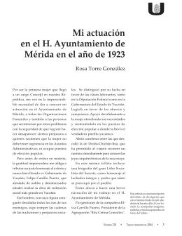 Mi actuación en el H. Ayuntamiento de Mérida en el año de 1923