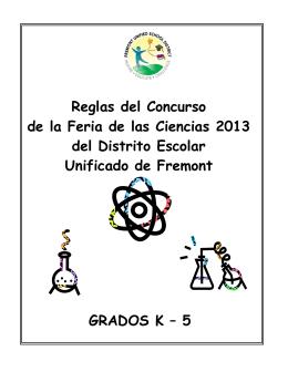 Reglas del Concurso de la Feria de las Ciencias 2013 del Distrito
