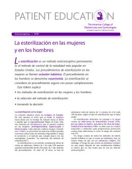 Patient Education Pamphlet, SP011, La esterilización