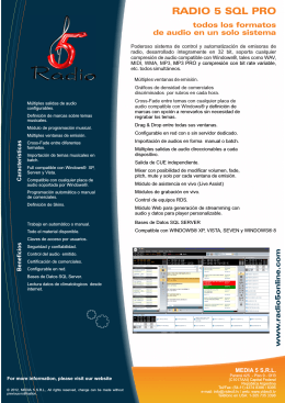 Folleto RADIO 5 SQL Ver 10