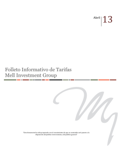 Folleto Informativo de Tarifas Mell Investment Group