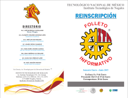 Folleto Reinscripción 2015 - Instituto Tecnológico de Nogales