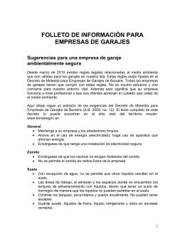 FOLLETO DE INFORMACIÓN PARA EMPRESAS DE GARAJES