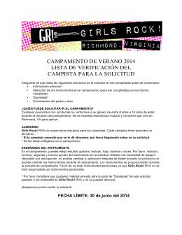campamento de verano 2014 lista de verificación del campista para