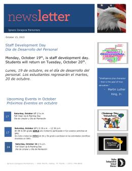 Staff Development Day Día de Desarrollo del Personal Monday