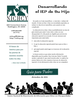 Desarrollando el IEP de Su Hijo - Center for Parent Information and
