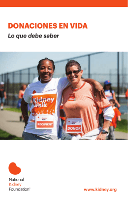 DONACIONES EN VIDA - National Kidney Foundation