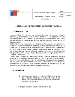 PROTOCOLO DE INFORMACION AL USUARIO Y FAMILIA a