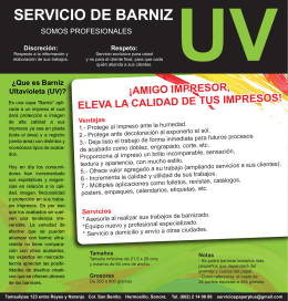 FOLLETO BARNIZ UV - Paper Plus