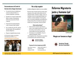 Reforma Migratoria justa y humana ¡ya! Ningún ser humano es ilegal