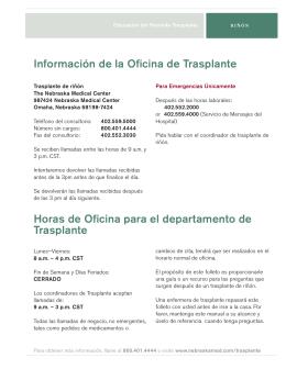Información de la Oficina de Trasplante Horas de Oficina para el