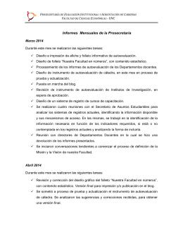 Informe Prosecretaría marzo-julio 2014