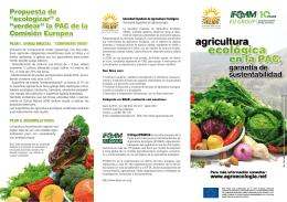 Folleto informativo - Sociedad Española de Agricultura Ecológica