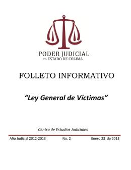 """FOLLETO INFORMATIVO """"Ley General de Víctimas"""""""