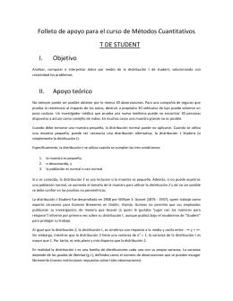 Folleto de apoyo para el curso de Métodos Cuantitativos T DE