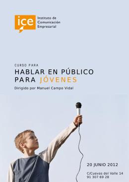 Folleto informativo del curso para hablar en público para jóvenes