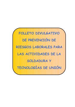 FOLLETO DIVULGATIVO DE PREVEN CIÓ N DE