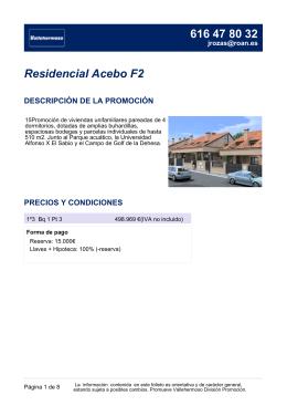 Residencial Acebo F2 DESCRIPCIÓN DE LA PROMOCIÓN