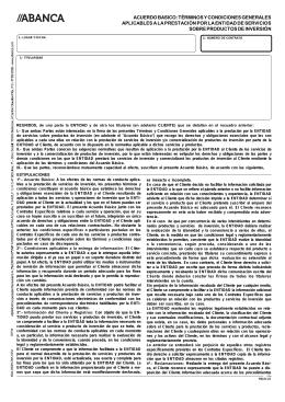 ACUERDO BASICO: TÉRMINOS Y CONDICIONES GENERALES