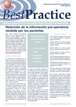 Retención de la información pre-operatoria recibida