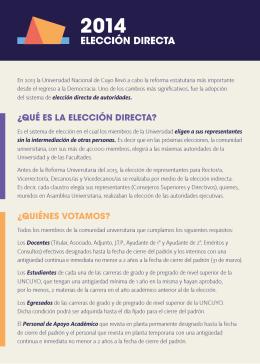 folleto elecciones - Elección directa 2014