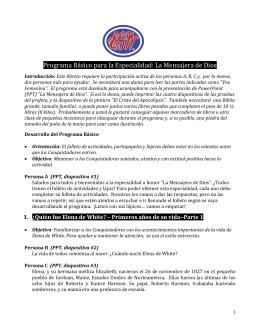 Especialidad/Honor: MENSAJERA DE DIOS Presentada en el
