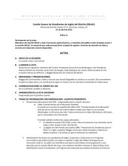 Comité Asesor de Estudiantes de Inglés del Distrito (DELAC)