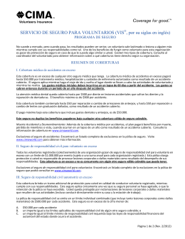 SERVICIO DE SEGURO PARA VOLUNTARIOS