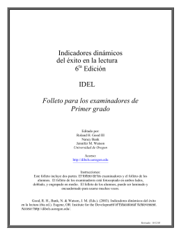 Indicadores dinámicos del éxito en la lectura 6 Edición IDEL Folleto