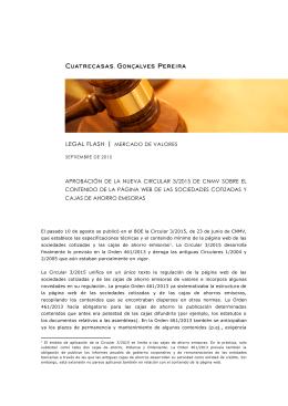 aprobación de la nueva circular 3/2015 de cnmv
