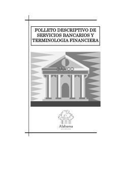 folleto descriptivo de servicios bancarios y terminologia financiera