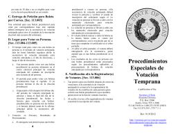 Procedimientos Especiales de Votación Temprana