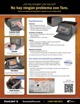 Folleto DuraLabel Toro - Impresoras de etiquetas personalizadas