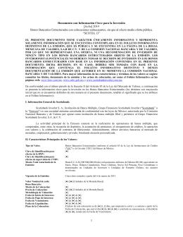[fecha] 2014 Bonos Bancarios Estructurados con colocaciones