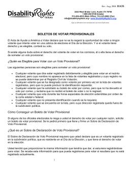 Bajar PDF: Boletos de Votar Provisionales