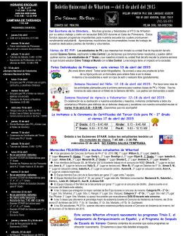 Boletín Quincenal de Wharton – del 8 de abril del 2015