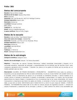 Folio: 281 Datos del concursante Datos de la escuela Datos de la