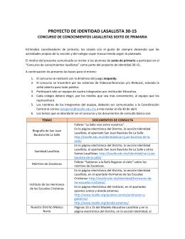 Convocatoria Concurso de Conocimientos Lasallistas.