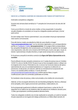 RUEDA DE PPRENSA SOMOS OPTOMETRISTAS