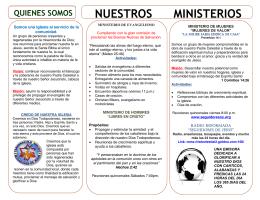 nuestros ministerios - Tabernáculo Biblico Seguidores De Jesús