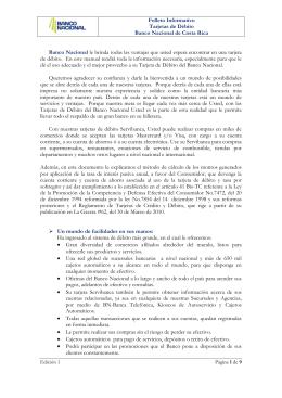 Folleto Informativo, Tarjetas de Débito Banco Nacional de Costa Rica