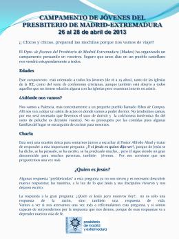 Folleto informativo e inscripción - Presbiterio de Madrid y Extremadura