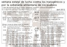 semana estatal de lucha contra los transgénicos y por la soberanía