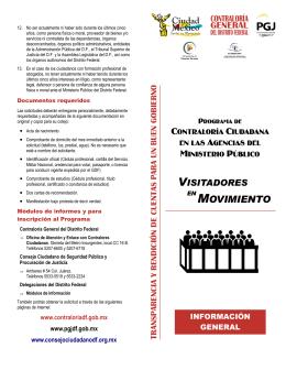 Folleto Programa Visitadores - Gobierno del Distrito Federal