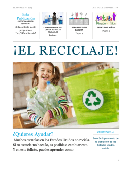 Folleto sobre Reciclaje - IB Spanish 11 2014-2015