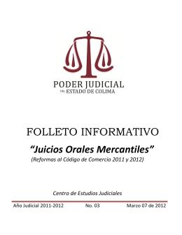 "FOLLETO INFORMATIVO ""Juicios Orales Mercantiles"""