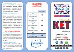 EXÁMENES DE CAMBRIDGE - Centro de Estudios Valverde
