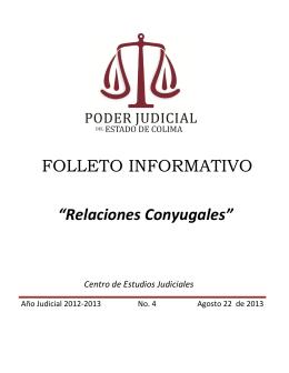 """FOLLETO INFORMATIVO """"Relaciones Conyugales"""""""
